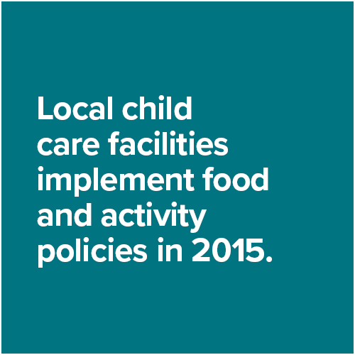 Local child care facilities implement food and activity policies in 2015.