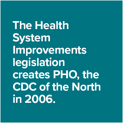 The Health System Improvements legislation creates PHO, the CDC of the North in 2006.