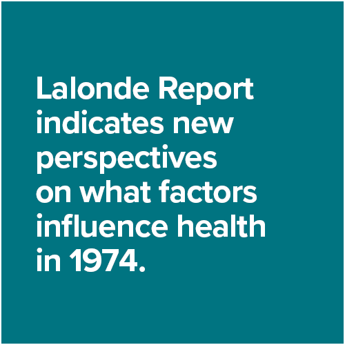 Lalonde Report indicates new perspectives on what factors influence health in 1974.