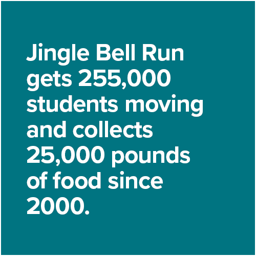 Jingle Bell Run gets 255,000 students moving and collects 25,000 pounds of food since 2000.