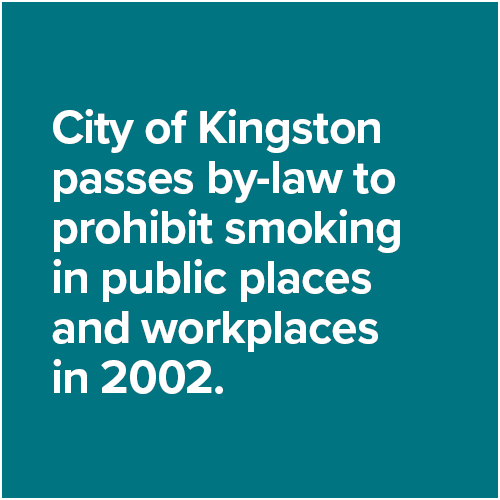 City of Kingston passes by-law to prohibit smoking in public places and workplaces in 2002.