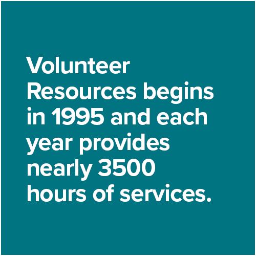 Volunteer Resources begins in 1995 and each year provides nearly 3500 hours of services.