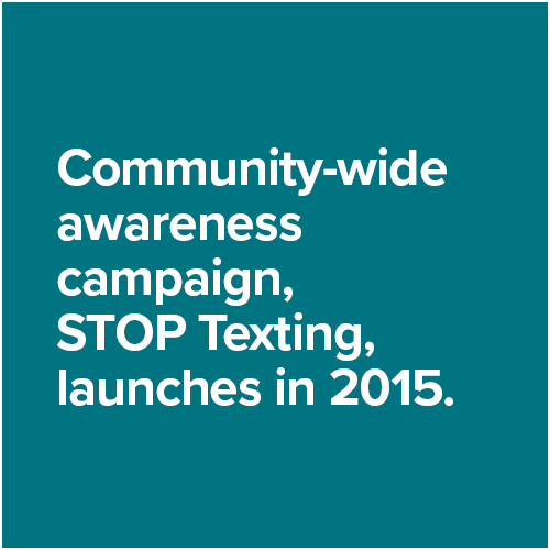 Community-wide awareness campaign, STOP Texting, launches in 2015.