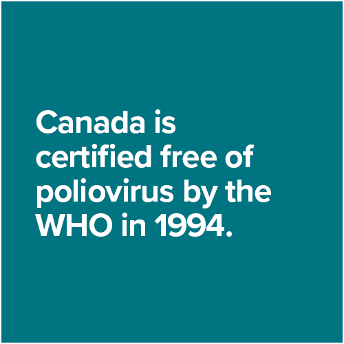 Canada is certified free of poliovirus by the WHO in 1994.