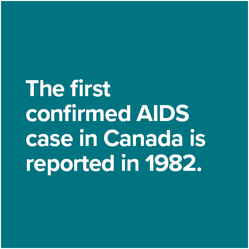 The first confirmed AIDS case in Canada is reported in 1982.