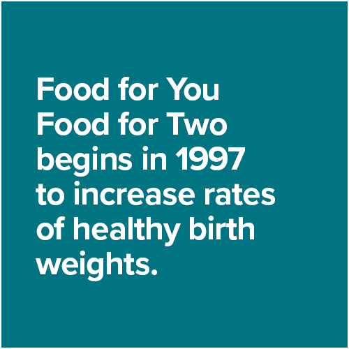Food for You Food for Two begins in 1997 to increase rates of healthy birth weights.