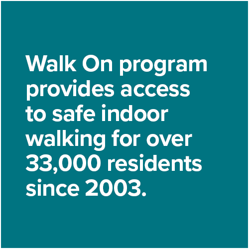 Walk On program provides access to safe indoor walking for over 33,000 residents since 2003.