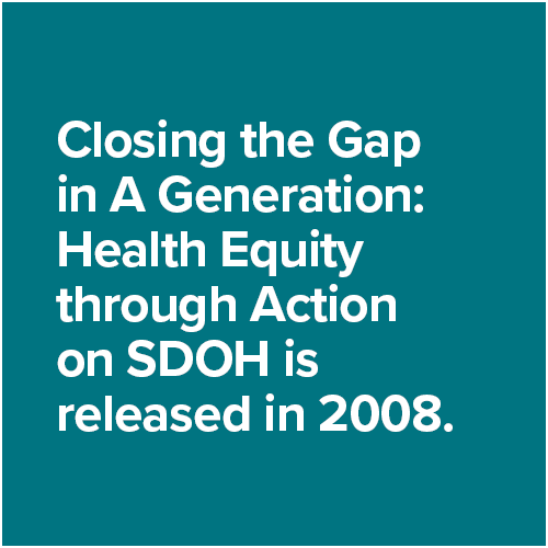 Closing the Gap in A Generation: Health Equity through Action on SDOH is released in 2008.
