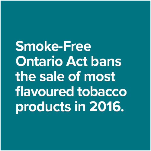 Smoke-Free Ontario Act bans the sale of most flavoured tobacco products in 2016.