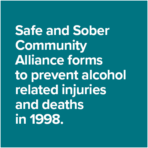 Safe and Sober Community Alliance forms  to prevent alcohol related injuries and deaths in 1998.