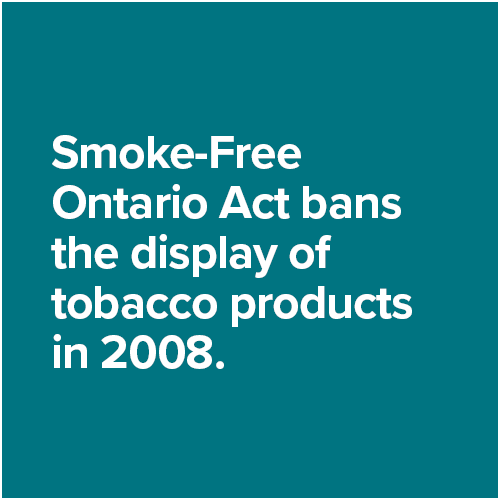 Smoke-Free Ontario Act bans the display of tobacco products in 2008.