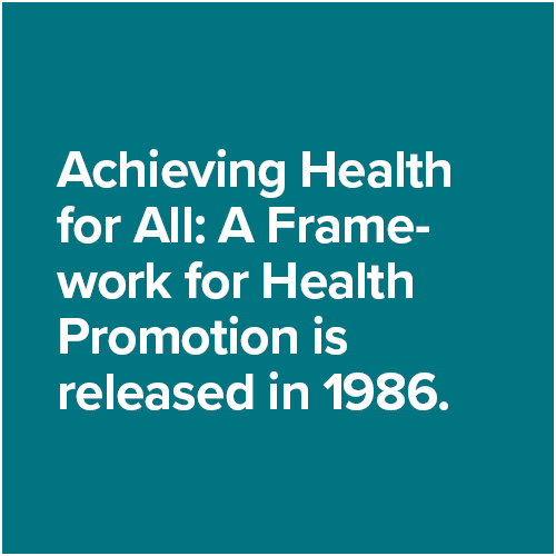 Achieving Health for All: A Framework for Health Promotion is released in 1986.