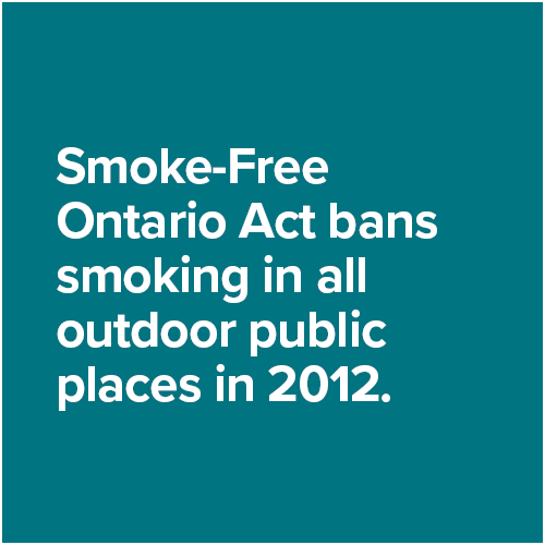 Smoke-Free Ontario Act bans smoking in all outdoor public places in 2012.