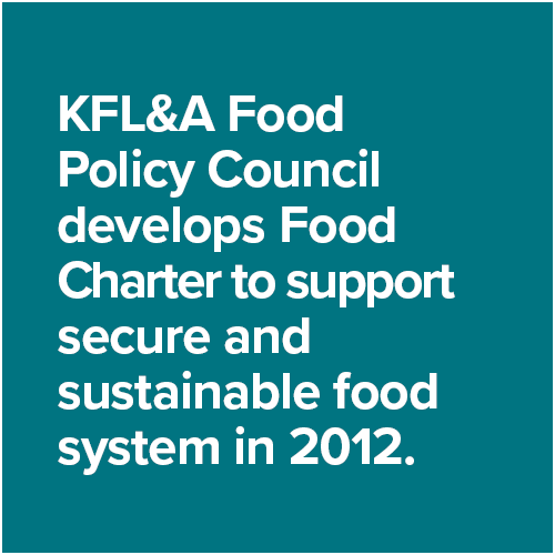 KFL&A Food Policy Council develops Food Charter to support secure and sustainable food system in 2012.