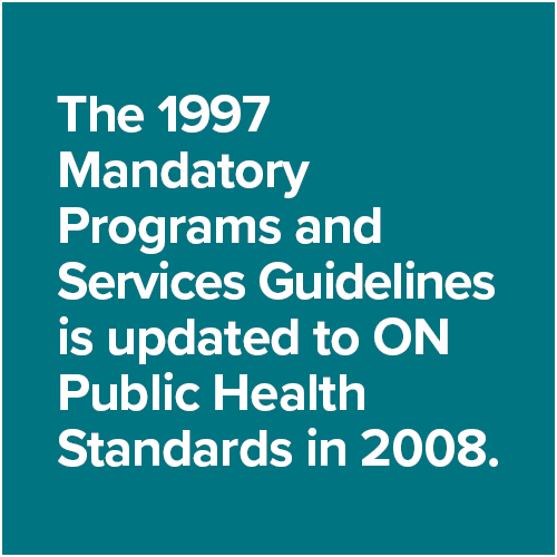 The 1997 Mandatory Programs and Services Guidelines is updated to ON Public Health Standards in 2008.