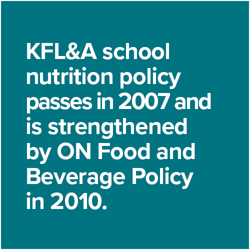 KFL&A school nutrition policy passes in 2007 and  is strengthened by ON Food and Beverage Policy in 2010.