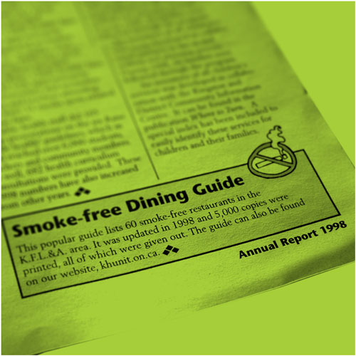 Smoke-Free Dining Guide Newspaper Advertisement