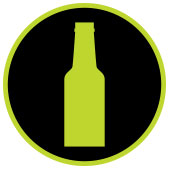 icon of beer bottle in a circle