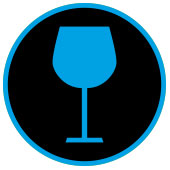 icon of wine glass in a circle