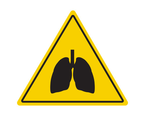 Yellow triangle icon with lungs