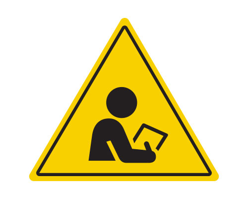Yellow triangle icon with person holding clipboard