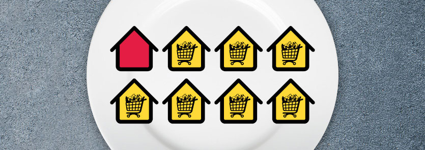Seven house icons with grocery carts in them. One house icon with no grocery cart.