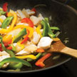 Fresh vegetables in stir-fry pan.