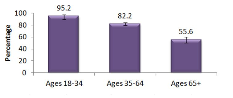 Figure B.  Adults, 18+, who use the Internet, by age group, KFL&A, 2010