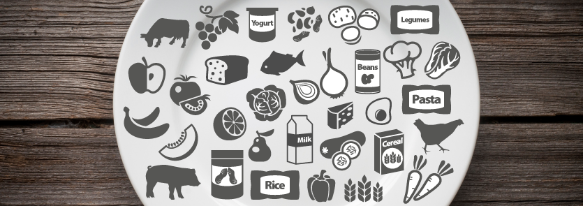 Plate with various food item icons.